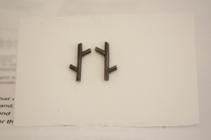 twig earrings hammered oxidised silver