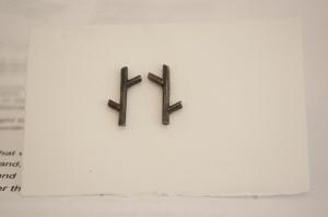twig earrings hammered oxidised silver